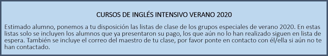 CURSOS DE INGLES INTENSIVO 2020